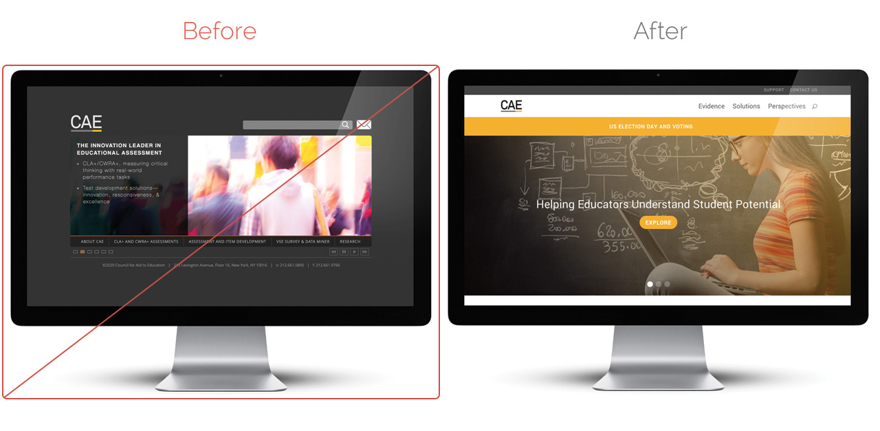CAE Website Before After Exclamation Communications Inc