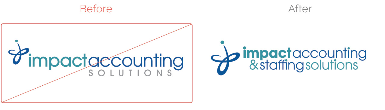Impact Accounting Staffing Solutions Logo Before After Exclamation Communications Inc